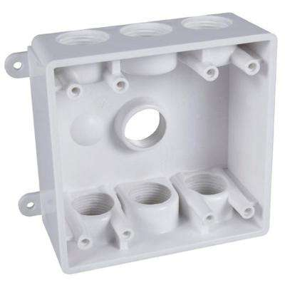 2-Gang Weatherproof Box with Seven 1/2 in. or 3/4 in. Outlets