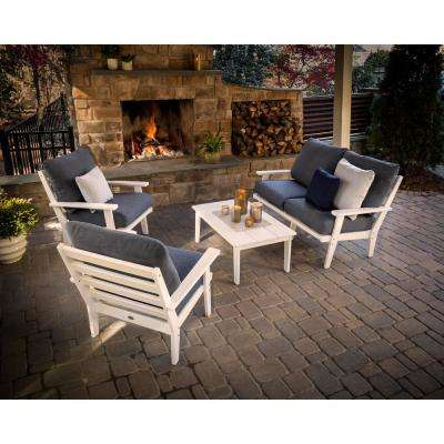 Grant Park White 4-Piece Plastic Patio Conversation Deep Seating Set with Sunbrella Rumba Stone Blue Cushions