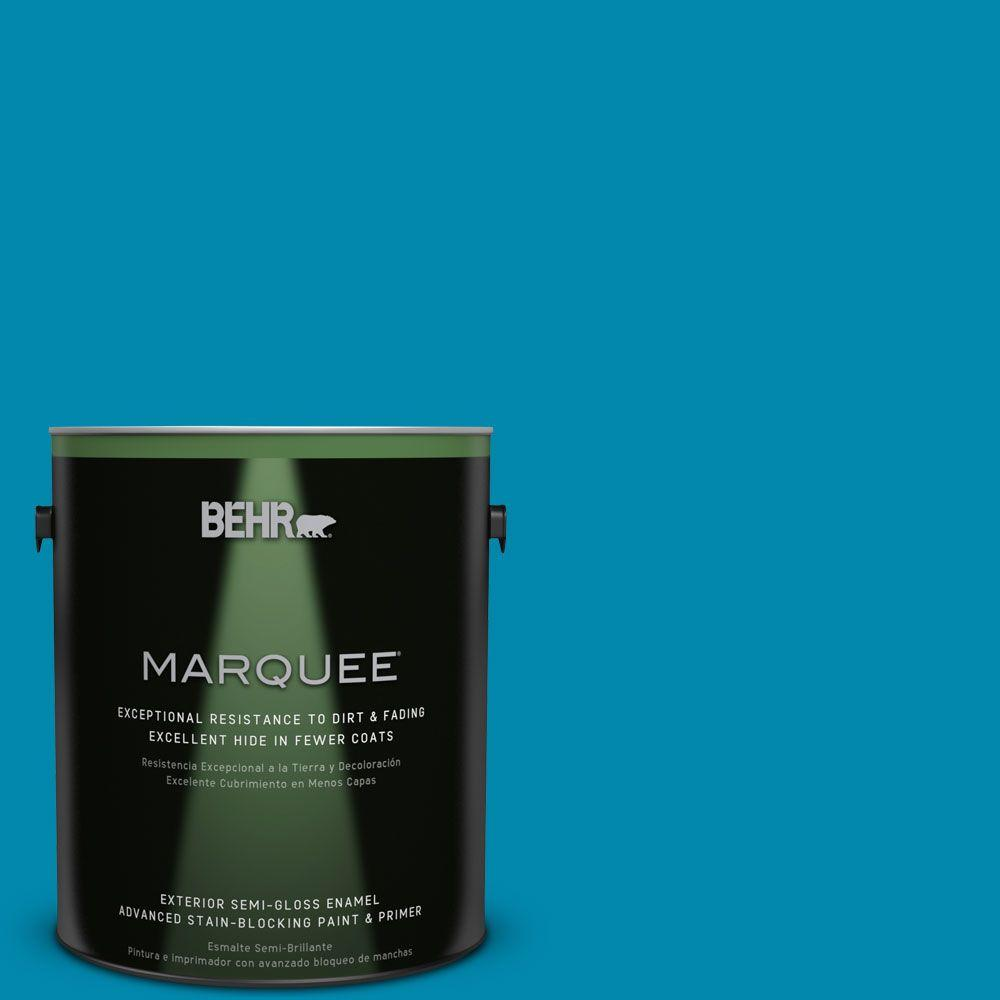 1-gal. #P490-6 Hacienda Blue Semi-Gloss Enamel Exterior Paint