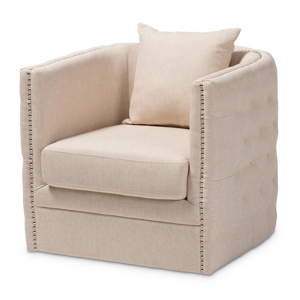 Micah Beige Fabric Swivel Chair