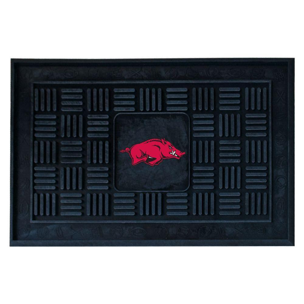 NCAA University of Arkansas Black 1 ft. 7 in. x 2 ft. 6 in. Vinyl Door Mat