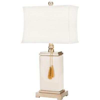Amiliana 29.5 in. Cream White Tassel Table Lamp with Off-White Shade