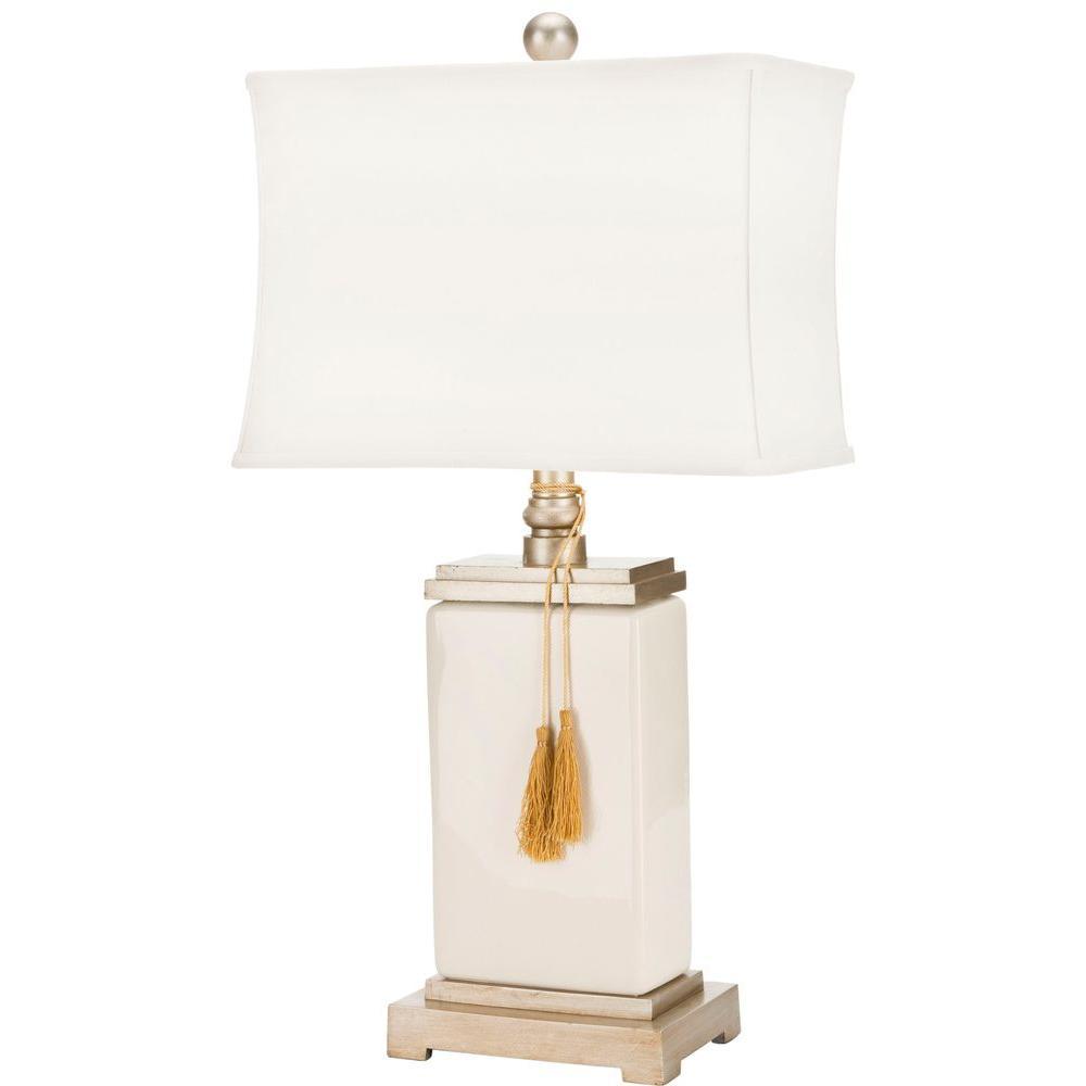 Safavieh Amiliana 29.5 in. Cream White Tassel Lamp