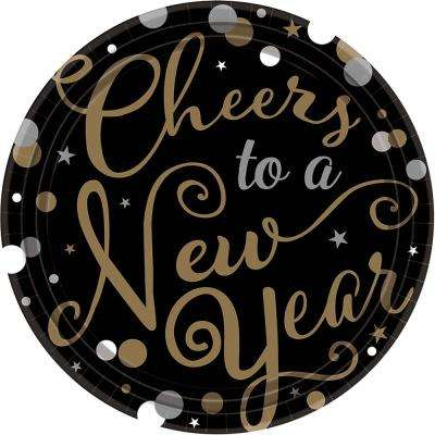 New Year's 7 in. Round Confetti Celebration Plates (18-count, 3-pack)