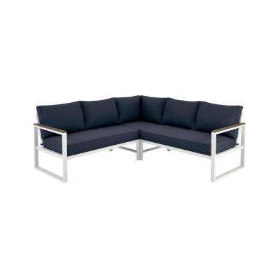 West Park White Aluminum Outdoor Patio Sectional Sofa Seating Set with CushionGuard Midnight Navy Blue Cushions