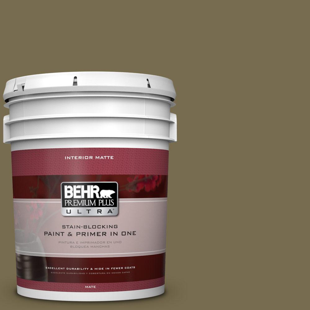 BEHR Premium Plus Ultra 5 gal. #PPU8-1 Olive Matte Interior Paint and Primer in One