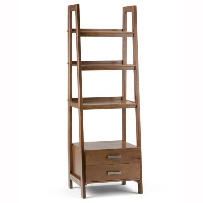 Sawhorse Solid Wood 72 in. x 24 in. Modern Industrial Ladder Shelf with Storage in Medium Saddle Brown