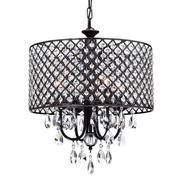 Marya 4-Light Oil Rubbed Bronze Round Chandelier with Beaded Drum/Hanging Clear Crystal Glass Teardrops