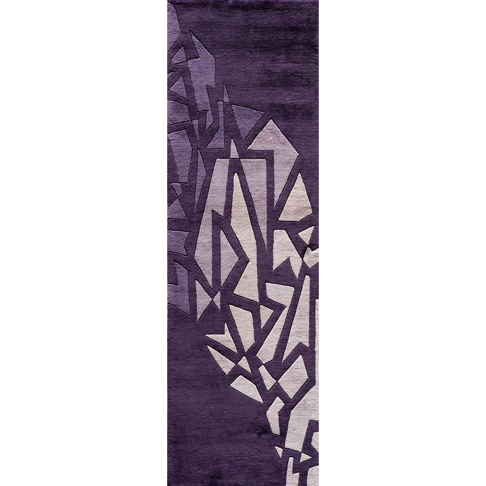 Contempo Purple 3 ft. x 12 ft. Indoor Runner Rug