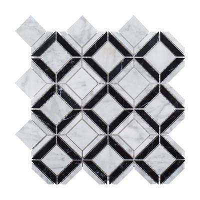 Carlyle Nero Marquina 11-1/8 in. x 11-1/8 in. x 8 mm Geometric Marble Wall and Floor Mosaic Tile