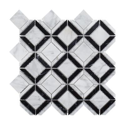 Carlyle Nero Marquina 11.125 in. x 11.125 in. White/Black Geometric Marble Wall/Floor Mosaic Tile (0.859 sq. ft./Each)