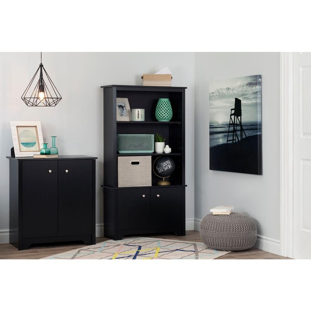South Shore Vito Pure Black Storage Cabinet