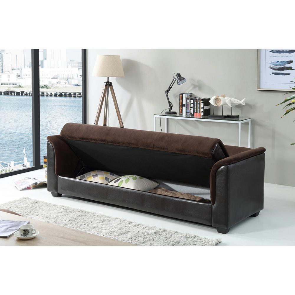 Champion Futon Chocolate Sofa Bed with Storage 72016-06CH ...