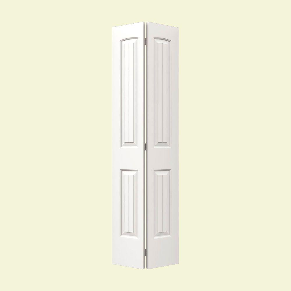 jeld wen 30 in x 80 in santa fe white painted smooth molded composite mdf closet bi fold door. Black Bedroom Furniture Sets. Home Design Ideas