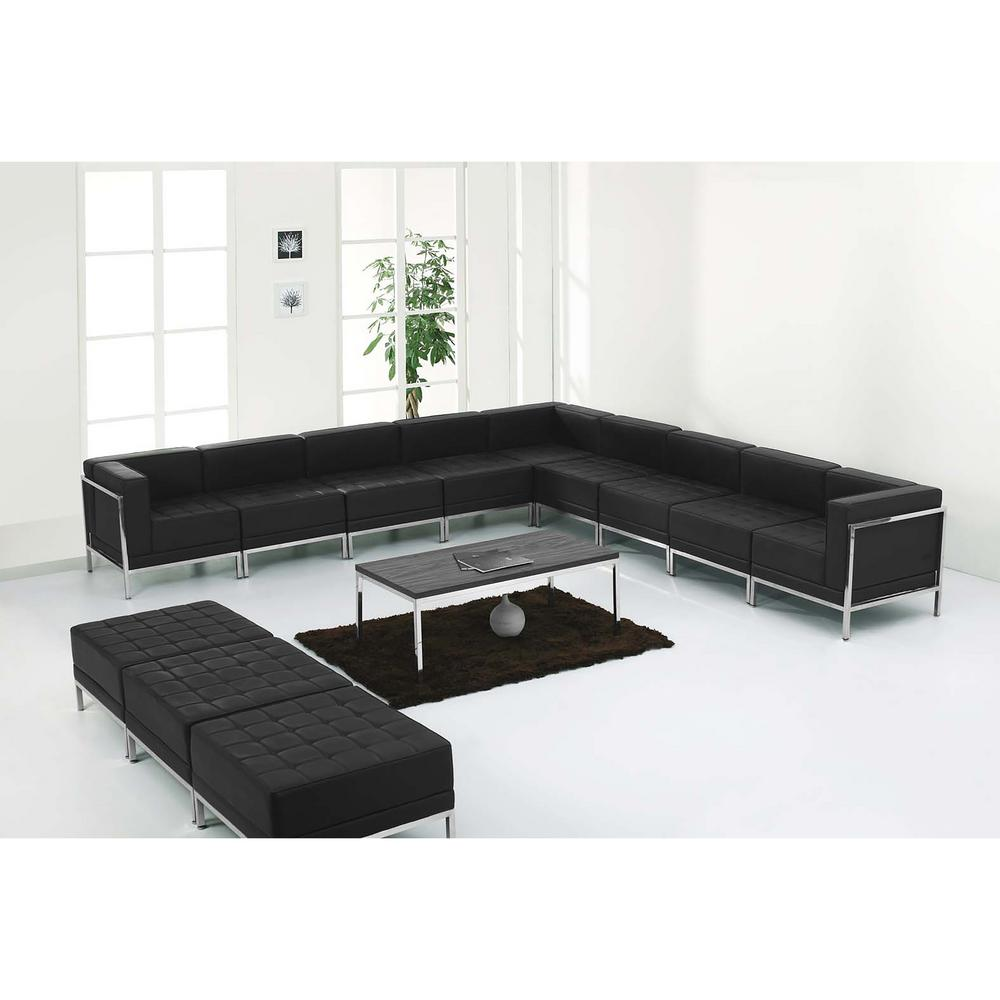 Flash Furniture Hercules Imagination Series Black Leather Sectional And Ottoman Set 12 Pieces Zbimagset18 The Home Depot