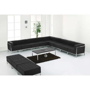 Hercules Imagination Series Black Leather Sectional and Ottoman Set, 12  Pieces