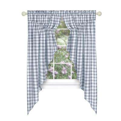 Buffalo Check Grey Polyester/Cotton Light Filtering Gathered Window Curtain Swagger 36 in. W x 63 in. L