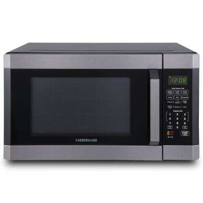 1.6 cu. ft Over the Counter Microwave in Black Stainless Steel with Smart Sensor