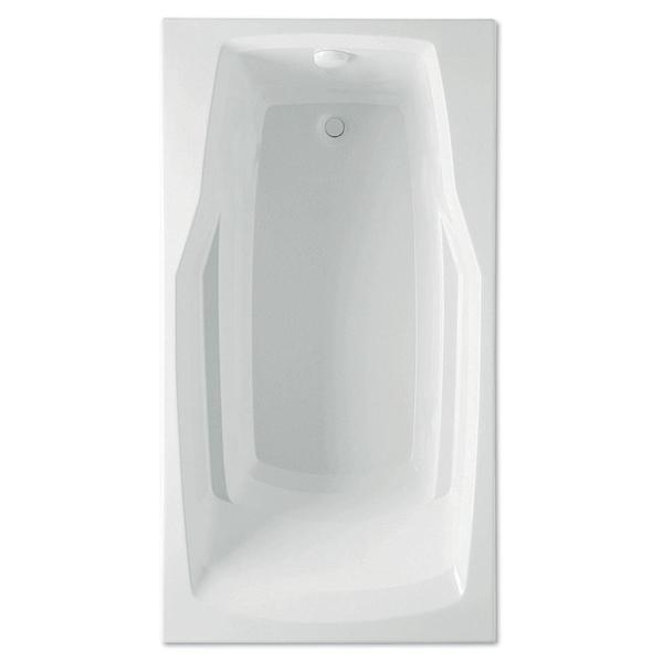 Derby 60 in. Acrylic Reversible Drain Rectangular Drop-In Soaking Bathtub in White