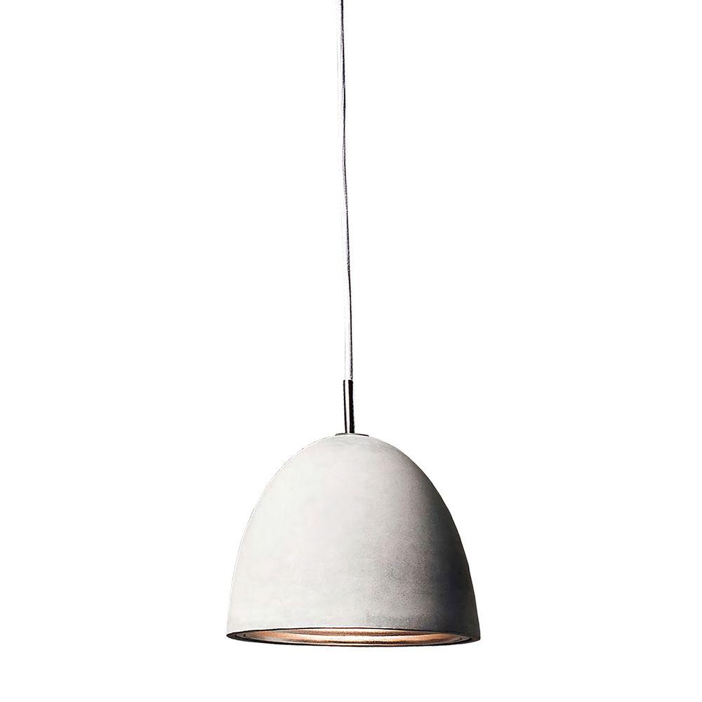 Castle 1 Light Poured Concrete With Chrome Reflector Small Pendant