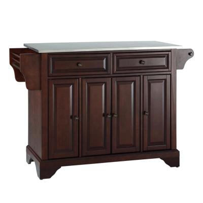 Lafayette Mahogany Kitchen Island with Stainless Steel Top