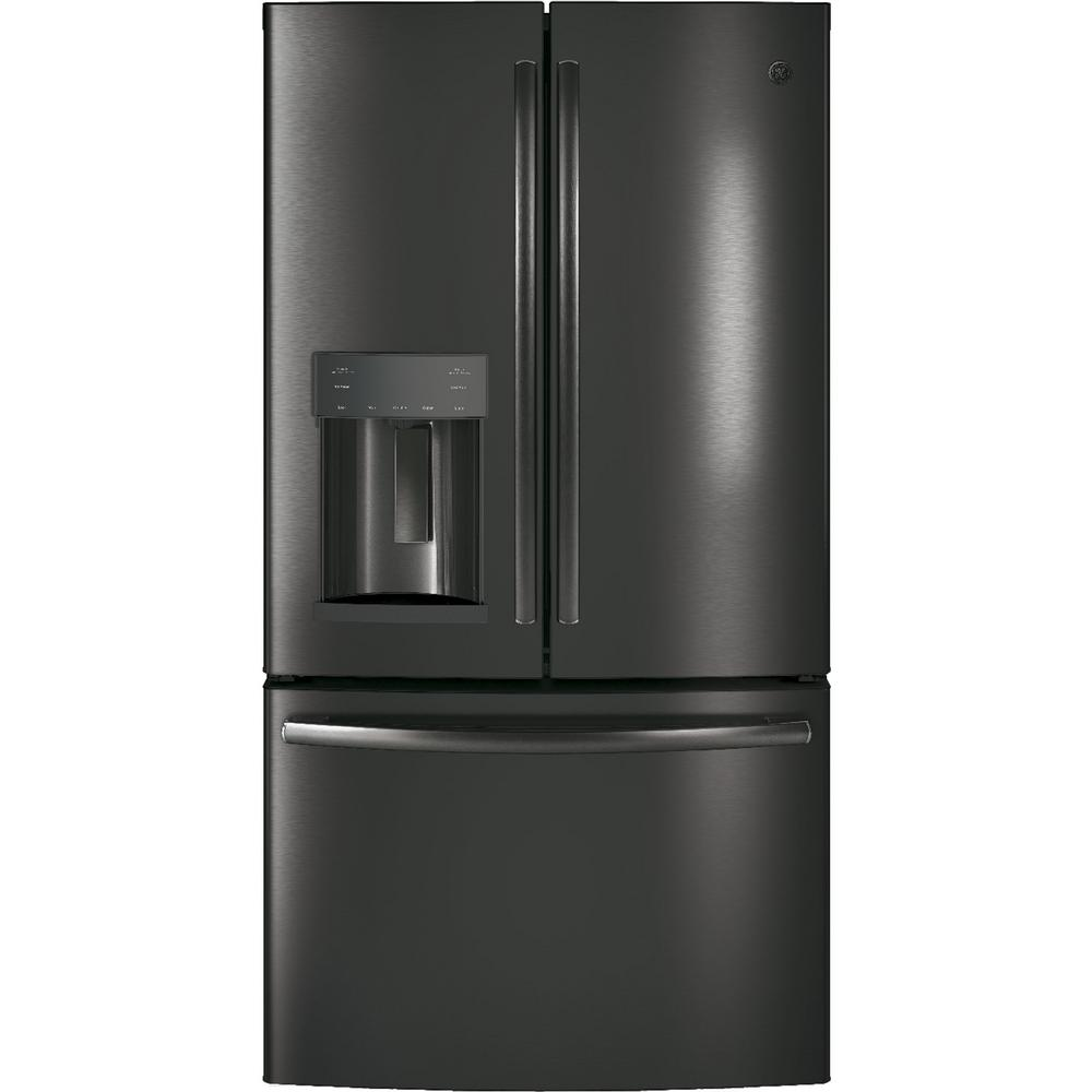 GE 36 in. W 27.8 cu. ft. French Door Refrigerator with Door-in-Door in Black Stainless Steel, Fingerprint Resistant