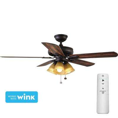 Lyndhurst 52 in. LED Oil-Rubbed Bronze Smart Ceiling Fan with Light Kit and WINK Remote Control