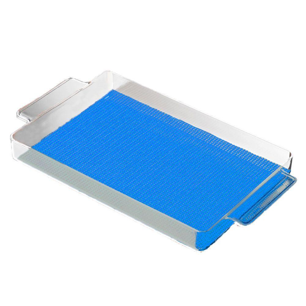 Kraftware Fishnet Rectangular Serving Tray in Process Blue by Kraftware