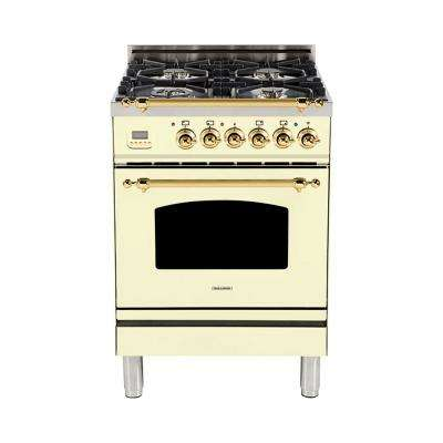 24 in. 2.4 cu. ft. Single Oven Italian Gas Range with True Convection, 4 Burners, Brass Trim in Antique White