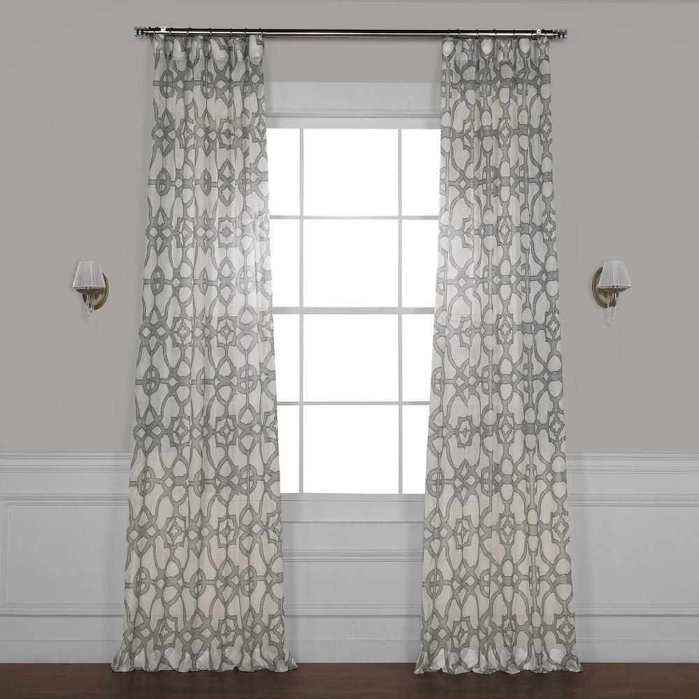 SeaGlass Grey Printed Sheer Curtain - 50 in. W x 84 in. L