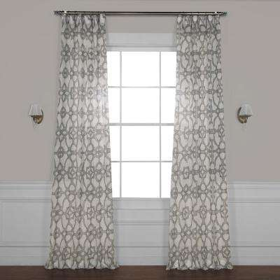 SeaGlass Grey Printed Sheer Curtain - 50 in. W x 96 in. L