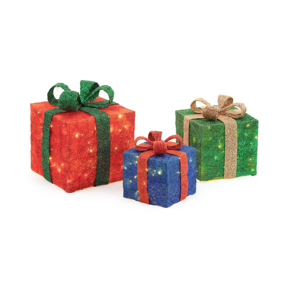 home accents holiday pre lit gift boxes yard decor set of 3 - Home Depot Christmas Decorations