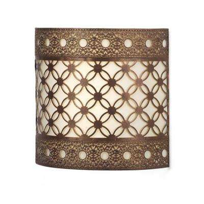Roma Barrel Indoor Battery Operated Integrated LED Wall Sconce with Candle Flicker Mode and Beige Shade
