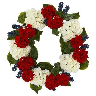 21 in. Unlit Artifical Holiday Wreath with Geranium and Blue Berry