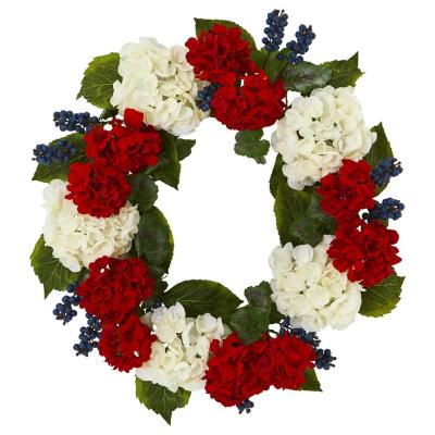 21in. Unlit Artifical Holiday Wreath with Geranium and Blue Berry