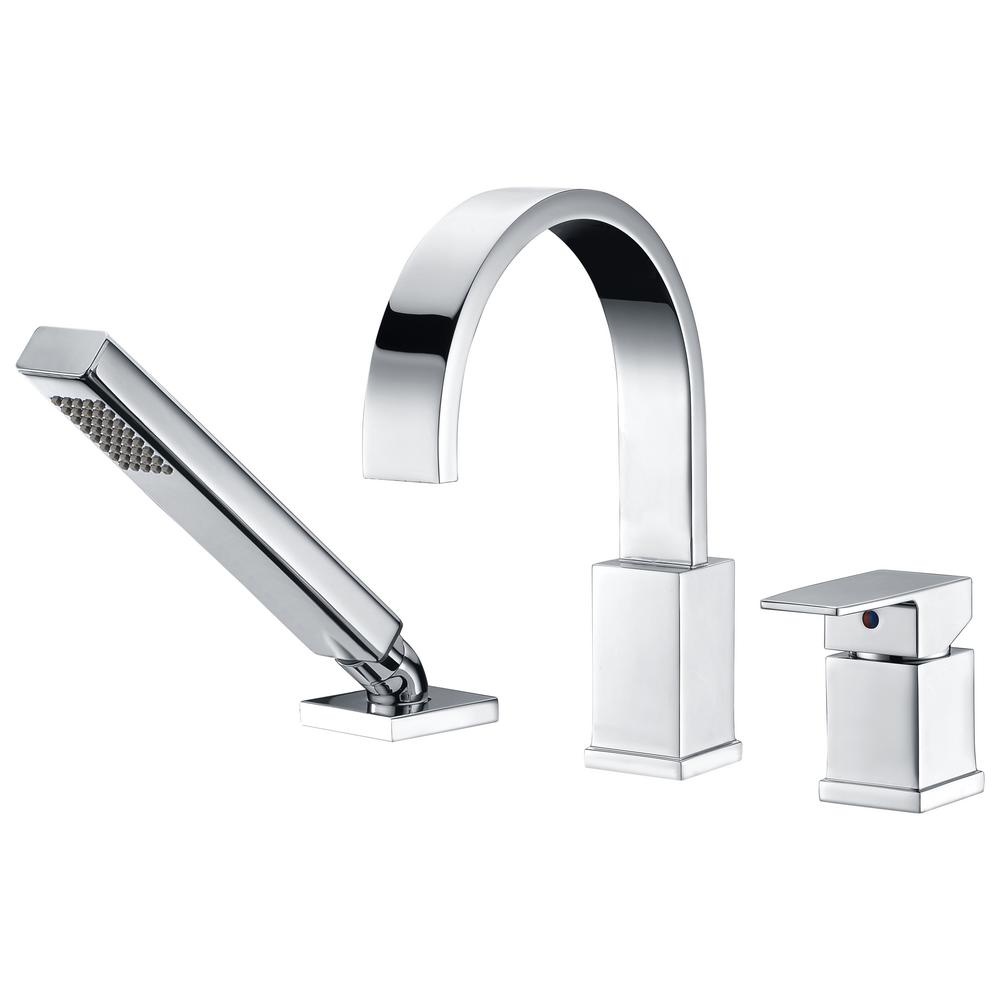 Anzzi Nite Series Single Handle Deck Mount Roman Tub Faucet With Handheld Sprayer In Polished