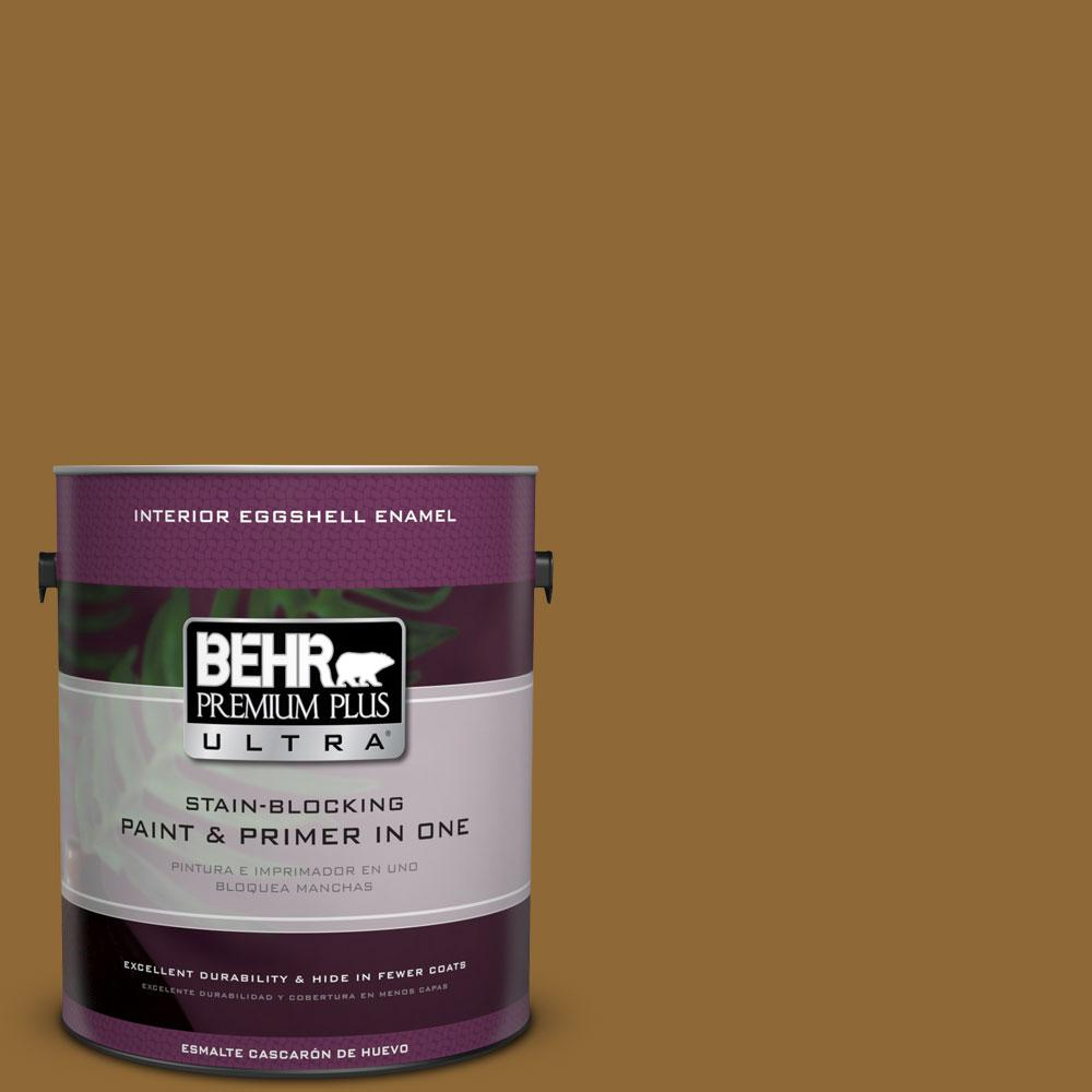 BEHR Premium Plus Ultra 1-gal. #310F-7 Carmel Woods Eggshell Enamel Interior Paint