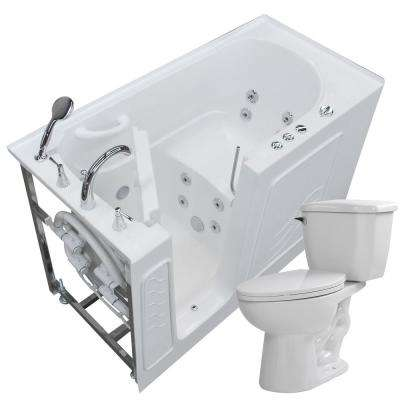 60 in. Walk-In Whirlpool Bathtub in White with 1.28 GPF Single Flush Toilet