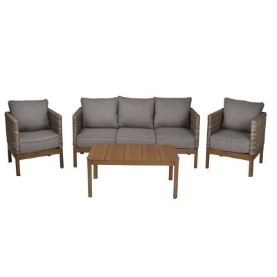 Resin 4-Piece Wicker Patio Seating Set with Gray Cushions