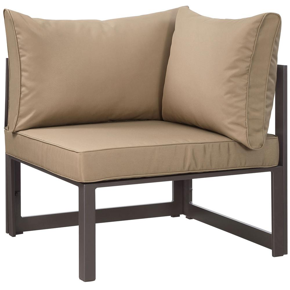 Fortuna Corner Aluminum Outdoor Patio Lounge Chair in Brown with Mocha