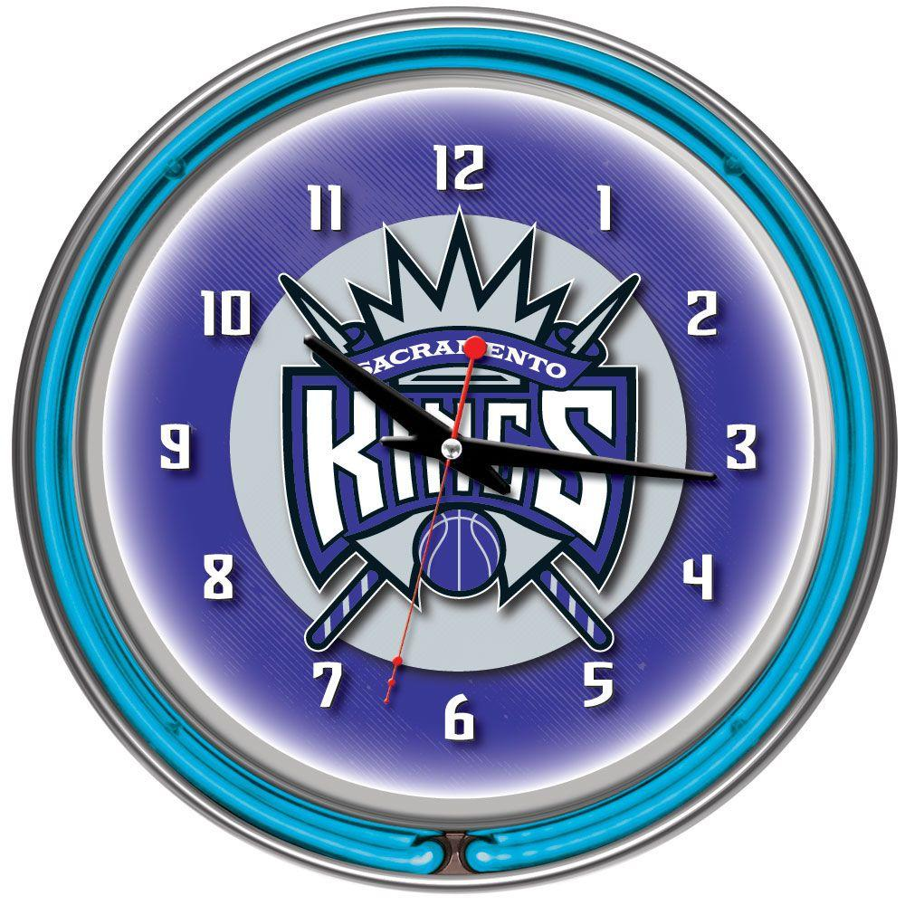 Trademark 14 in. Sacramento Kings NBA Chrome Double Ring Neon Wall Clock