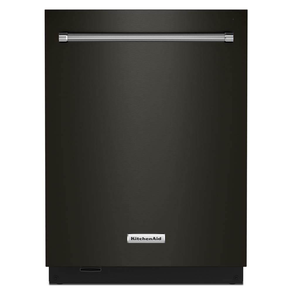 KitchenAid 24 in. Top Control Built-in Tall Tub Dishwasher in Black Stainless with Stainless Steel Tub and Third Level Rack