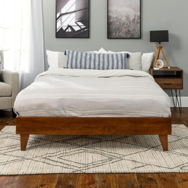 Welwick Designs Solid Wood Walnut Queen Platform Bed Hd8026 The