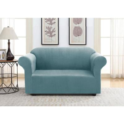 Blue Suede Stretch Fit Love Seat Slipcover
