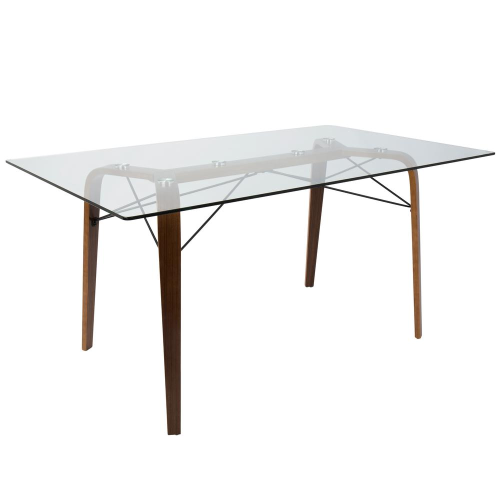 Lumisource trilogy mid century modern walnut rectangular dining table with wood and clear glass top
