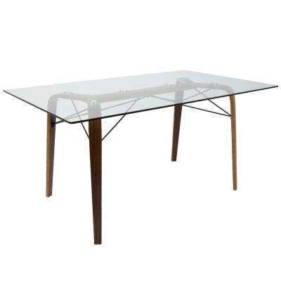 Trilogy Mid-Century Modern Walnut Rectangular Dining Table with Wood and Clear Glass Top