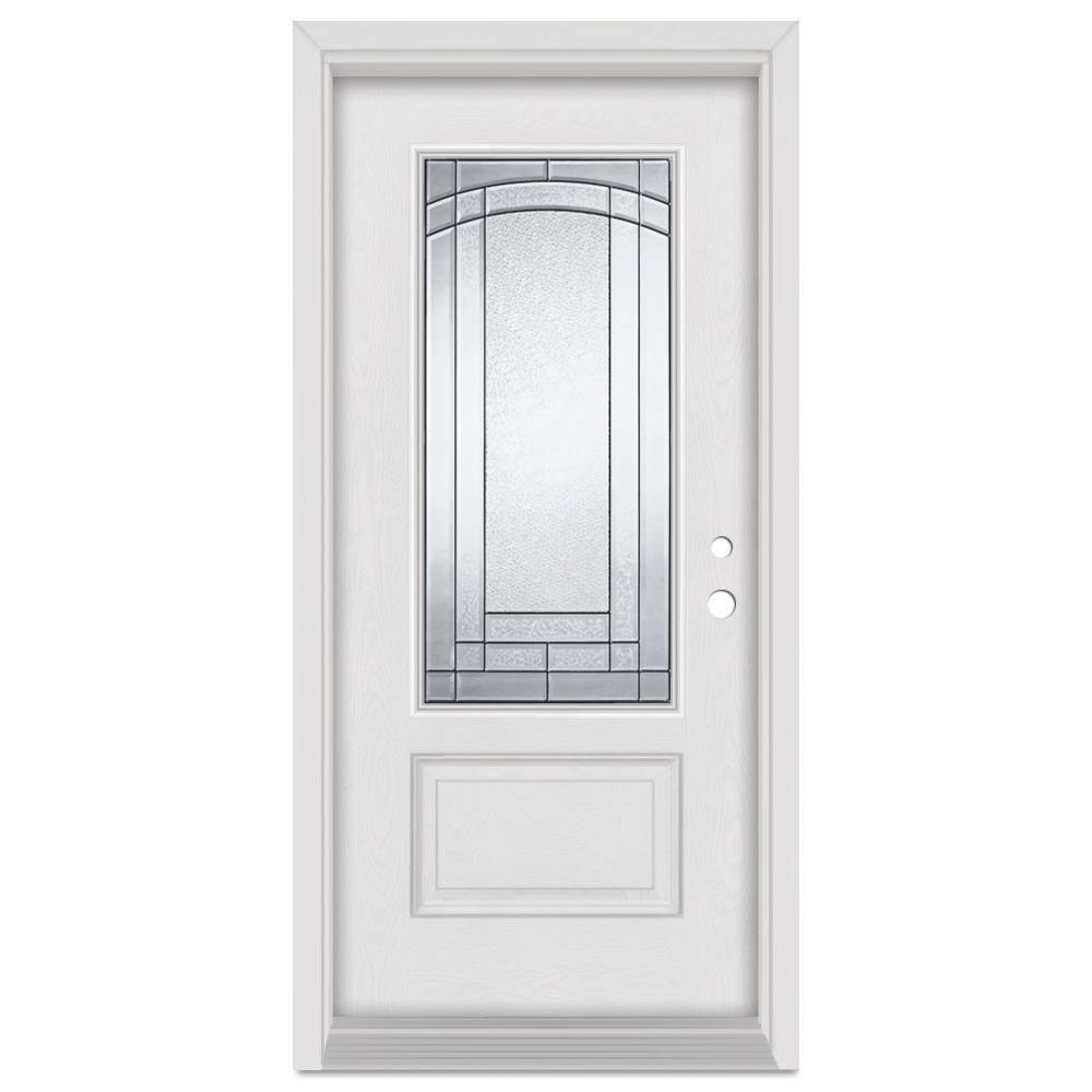 Stanley Doors 33.375 in. x 83 in. Chatham Left-Hand Patina Finished Fiberglass Mahogany Woodgrain Prehung Front Door Brickmould