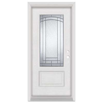 33.375 in. x 83 in. Chatham Left-Hand Patina Finished Fiberglass Mahogany Woodgrain Prehung Front Door Brickmould