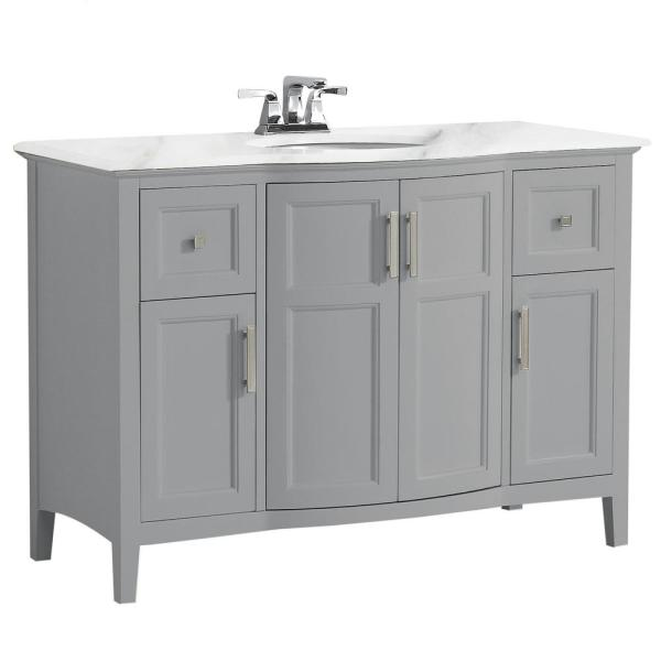 Rounded Front Bath Vanity In Warm Grey