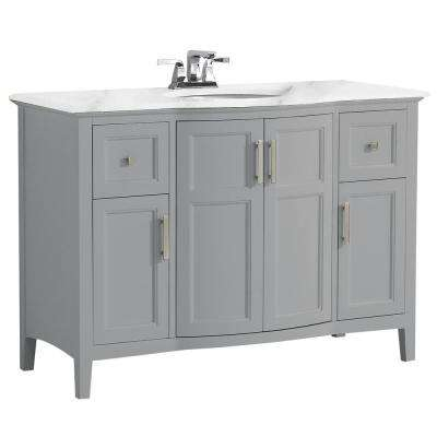 Winston 48 in. Rounded Front Bath Vanity in Warm Grey with Marble Extra Thick Vanity Top in Bombay White with Basin